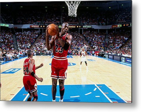 Chicago Bulls Metal Print featuring the photograph Horace Grant and Michael Jordan by Brian Drake