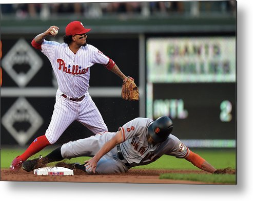 Double Play Metal Print featuring the photograph Hunter Pence And Freddy Galvis by Drew Hallowell