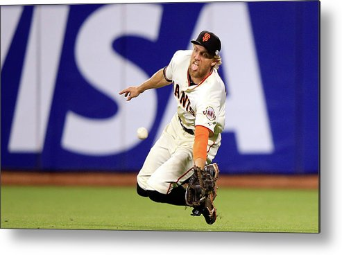 San Francisco Metal Print featuring the photograph Hunter Pence and Lorenzo Cain by Jamie Squire