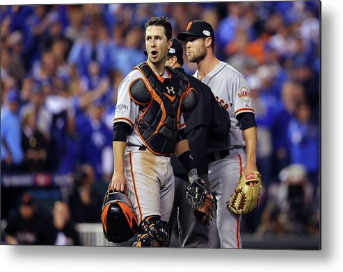 Game Two Metal Print featuring the photograph Hunter Strickland and Buster Posey by Elsa