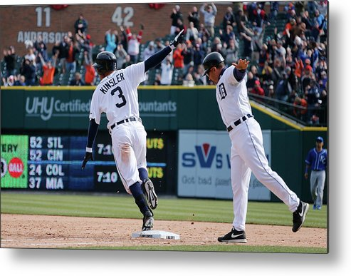American League Baseball Metal Print featuring the photograph Ian Kinsler and Omar Vizquel by Gregory Shamus