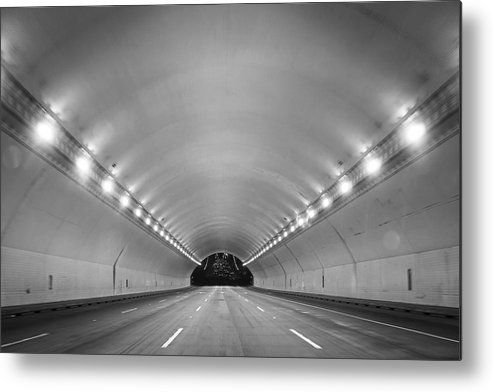 Ceiling Metal Print featuring the photograph Interior Of Illuminated Tunnel by Jesse Coleman / EyeEm