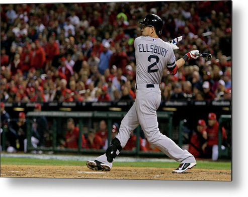 American League Baseball Metal Print featuring the photograph Jacoby Ellsbury and Stephen Drew by Elsa