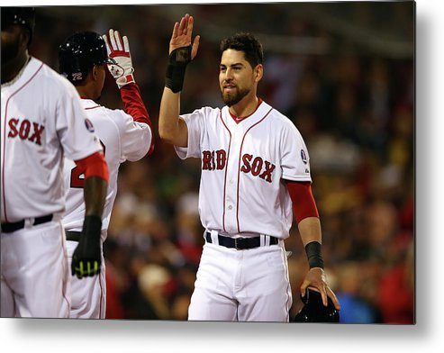 American League Baseball Metal Print featuring the photograph Jacoby Ellsbury and Xander Bogaerts by Elsa