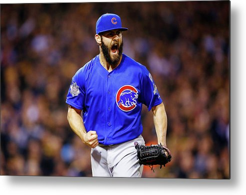 Playoffs Metal Print featuring the photograph Jake Arrieta by Jared Wickerham
