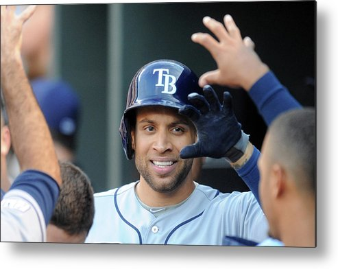 Game Two Metal Print featuring the photograph James Loney by Mitchell Layton