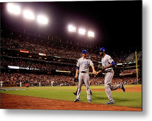 San Francisco Metal Print featuring the photograph James Shields and Lorenzo Cain by Rob Carr