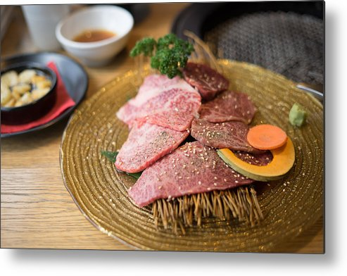 Crockery Metal Print featuring the photograph Japanese Wagyu Beef by Skaman306