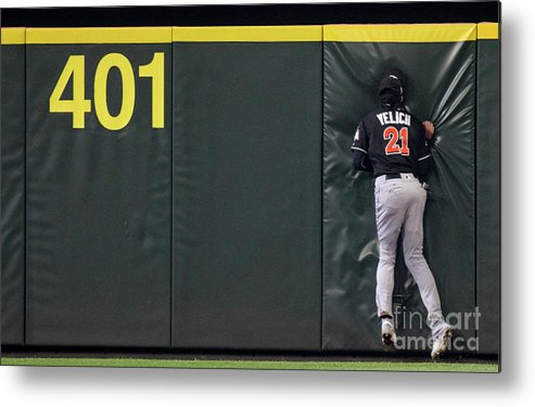 People Metal Print featuring the photograph Jarrod Dyson and Christian Yelich by Stephen Brashear