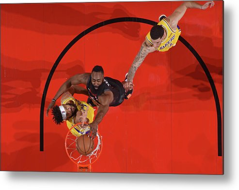 Nba Pro Basketball Metal Print featuring the photograph Javale Mcgee, James Harden, and Lonzo Ball by Andrew D. Bernstein