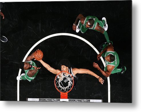Nba Pro Basketball Metal Print featuring the photograph Jaylen Brown and Jarrett Allen by Nathaniel S. Butler