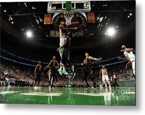 Playoffs Metal Print featuring the photograph Jayson Tatum and Lebron James by Brian Babineau