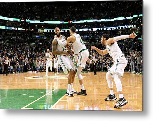 Nba Pro Basketball Metal Print featuring the photograph Jayson Tatum and Marcus Morris by Brian Babineau