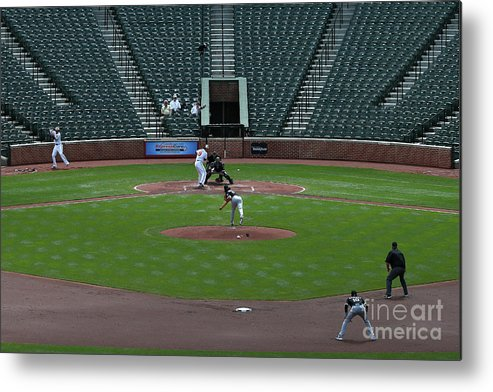 American League Baseball Metal Print featuring the photograph Jeff Samardzija and Chris Davis by Patrick Smith
