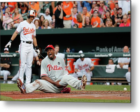 People Metal Print featuring the photograph Jerome Williams and Ryan Flaherty by Rob Carr
