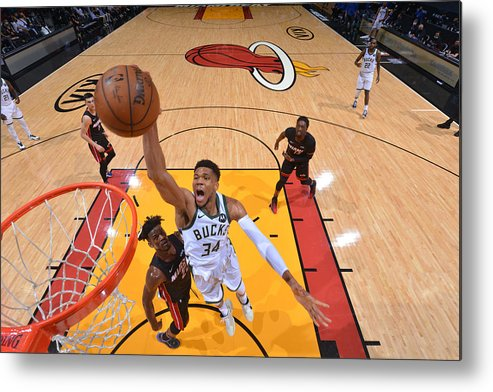 Playoffs Metal Print featuring the photograph Jimmy Butler and Giannis Antetokounmpo by Jesse D. Garrabrant