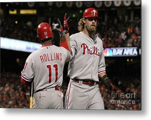 Playoffs Metal Print featuring the photograph Jimmy Rollins and Jayson Werth by Justin Sullivan