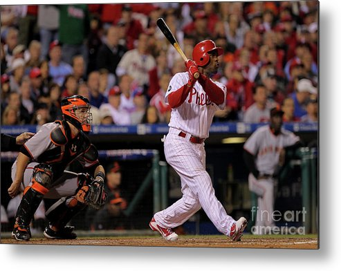 Playoffs Metal Print featuring the photograph Jimmy Rollins by Doug Pensinger