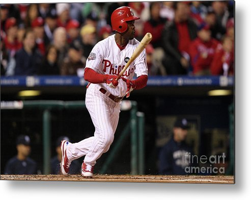 American League Baseball Metal Print featuring the photograph Jimmy Rollins by Jed Jacobsohn