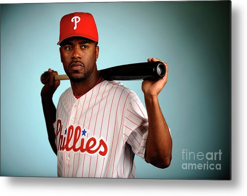 Media Day Metal Print featuring the photograph Jimmy Rollins by Robert Laberge