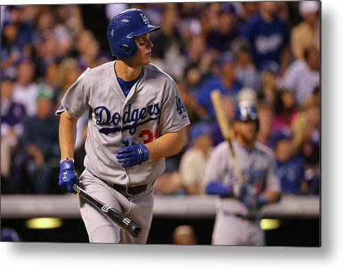 American League Baseball Metal Print featuring the photograph Joc Pederson by Doug Pensinger