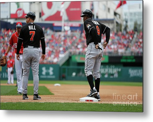 American League Baseball Metal Print featuring the photograph Joe Dimaggio and Juan Pierre by Jonathan Ernst