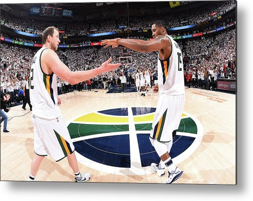 Playoffs Metal Print featuring the photograph Joe Ingles and Derrick Favors by Andrew D. Bernstein