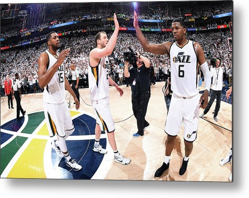 Playoffs Metal Print featuring the photograph Joe Ingles, Joe Johnson, and Derrick Favors by Andrew D. Bernstein