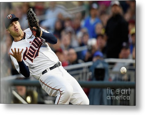 Three Quarter Length Metal Print featuring the photograph Joe Mauer and Robinson Chirinos by Hannah Foslien