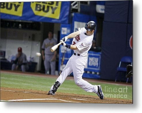 Hubert H. Humphrey Metrodome Metal Print featuring the photograph Joe Mauer by Bruce Kluckhohn