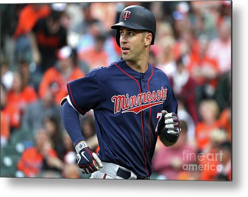 Looking Over Shoulder Metal Print featuring the photograph Joe Mauer by Patrick Smith