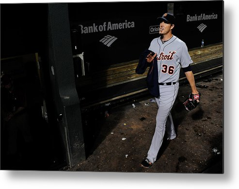 American League Baseball Metal Print featuring the photograph Joe Nathan by Patrick Mcdermott