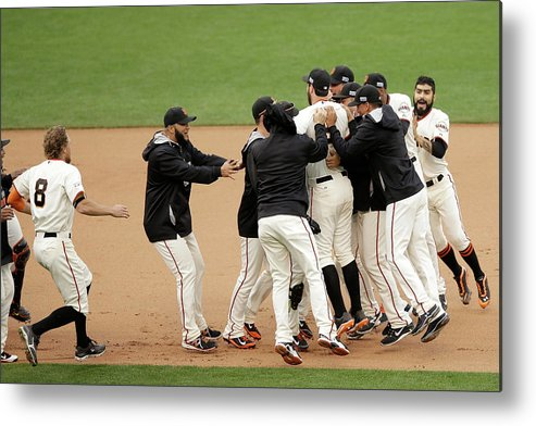 Playoffs Metal Print featuring the photograph Joe Panik and Brandon Belt by Ezra Shaw
