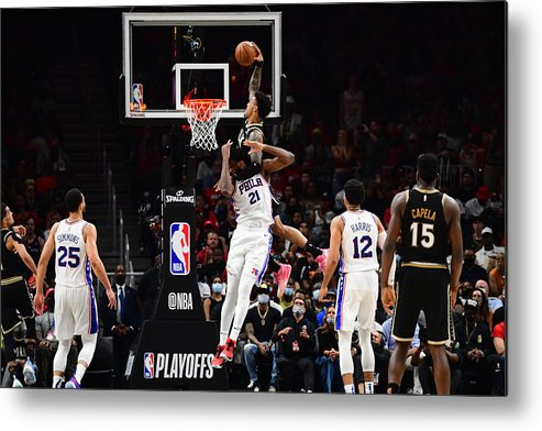 Atlanta Metal Print featuring the photograph John Collins and Joel Embiid by Scott Cunningham
