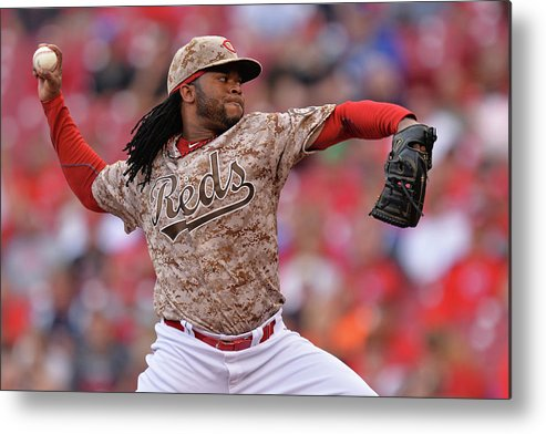 Great American Ball Park Metal Print featuring the photograph Johnny Cueto by Jamie Sabau