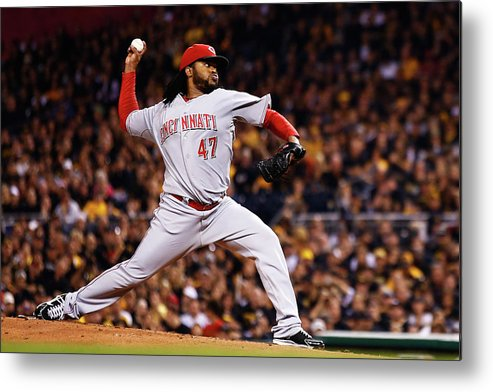 American League Baseball Metal Print featuring the photograph Johnny Cueto by Jared Wickerham