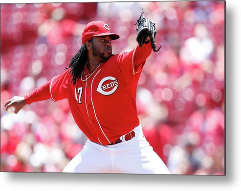 Great American Ball Park Metal Print featuring the photograph Johnny Cueto by Joe Robbins