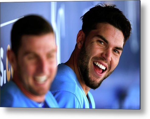 American League Baseball Metal Print featuring the photograph Johnny Giavotella and Eric Hosmer by Jamie Squire