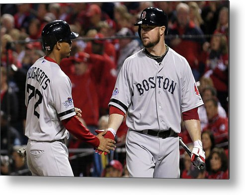 American League Baseball Metal Print featuring the photograph Jon Lester and Xander Bogaerts by Rob Carr