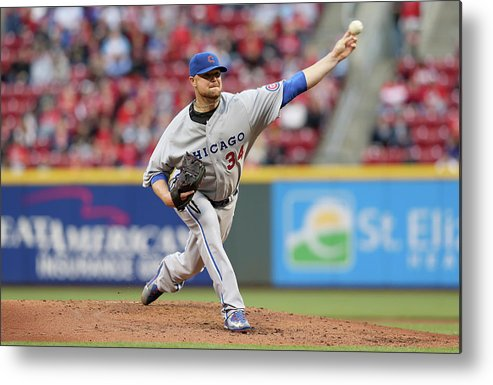 Great American Ball Park Metal Print featuring the photograph Jon Lester by Andy Lyons