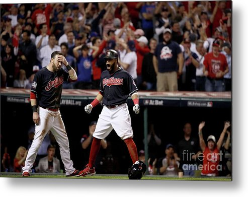 People Metal Print featuring the photograph Jon Lester, Carlos Santana, and Jason Kipnis by Ezra Shaw