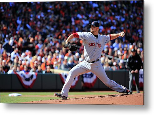 American League Baseball Metal Print featuring the photograph Jon Lester by Rob Carr