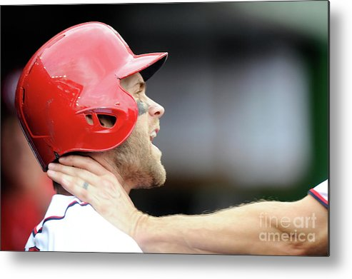 People Metal Print featuring the photograph Jonathan Papelbon and Bryce Harper by Greg Fiume