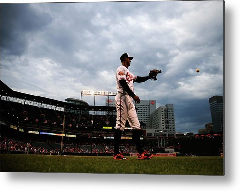 American League Baseball Metal Print featuring the photograph Jonathan Schoop by Rob Carr