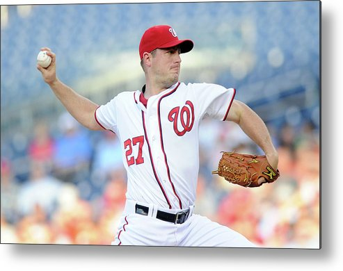 American League Baseball Metal Print featuring the photograph Jordan Zimmermann by Greg Fiume