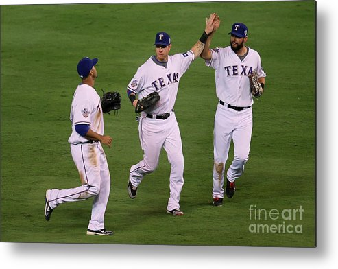 American League Baseball Metal Print featuring the photograph Josh Hamilton, Jeff Francoeur, and Nelson Cruz by Stephen Dunn