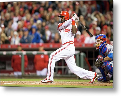 Great American Ball Park Metal Print featuring the photograph Josh Harrison and Brandon Phillips by Taylor Baucom