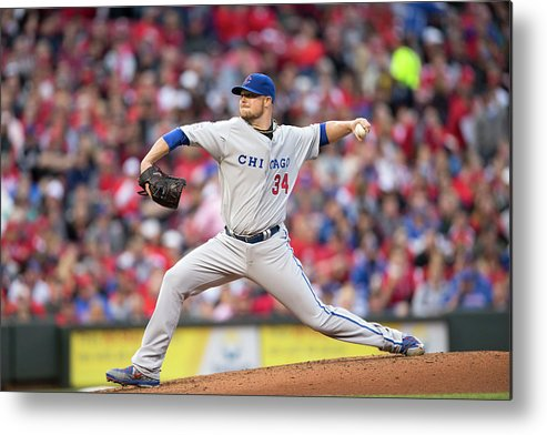 Great American Ball Park Metal Print featuring the photograph Josh Harrison and Jon Lester by Taylor Baucom