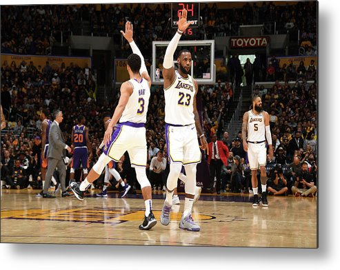 Nba Pro Basketball Metal Print featuring the photograph Josh Hart and Lebron James by Andrew D. Bernstein