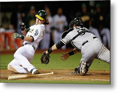 People Metal Print featuring the photograph Josh Reddick, Billy Butler, and Geovany Soto by Ezra Shaw